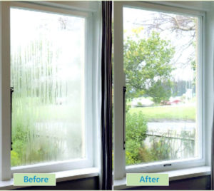 Condensation before and after Ecoease glazing panel